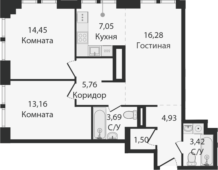 3Е-комнатная, 70.24 м²– 2