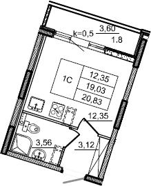 Студия, 20.83 м², 2 этаж