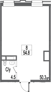 Свободная планировка, 54.8 м²– 2