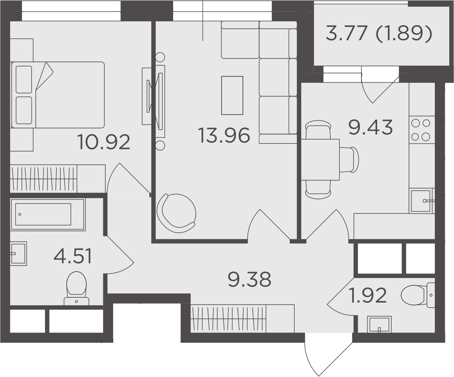 2-к.кв, 52.01 м²