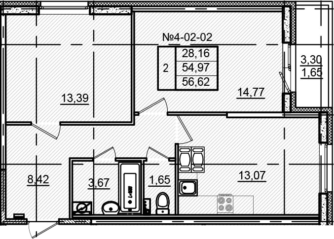 2-к.кв, 56.62 м²