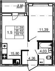 2Е-комнатная, 35.48 м²– 2