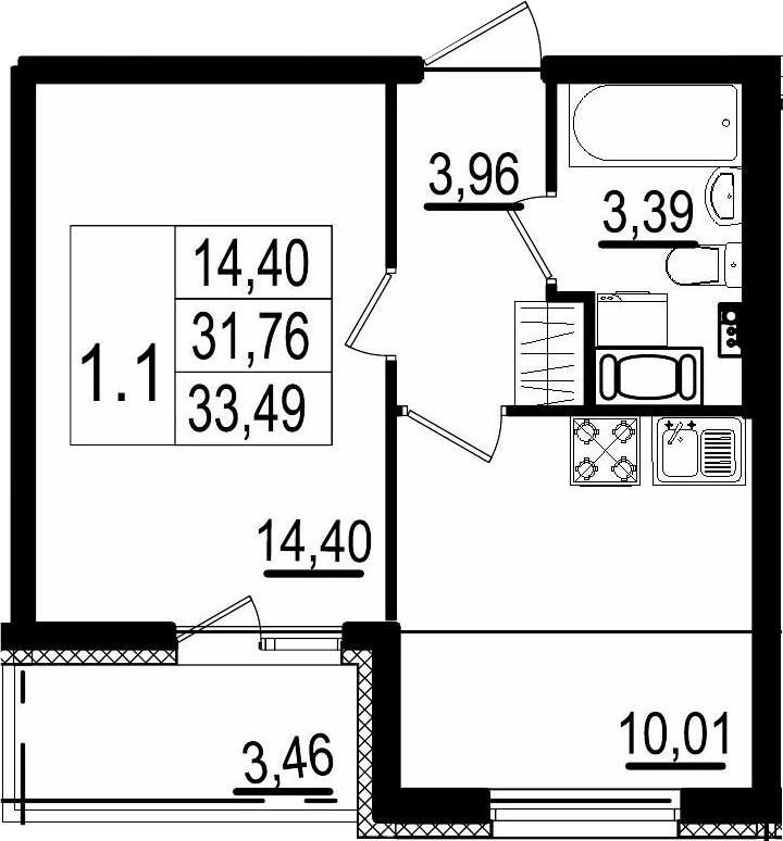 1-комнатная, 31.76 м²– 2