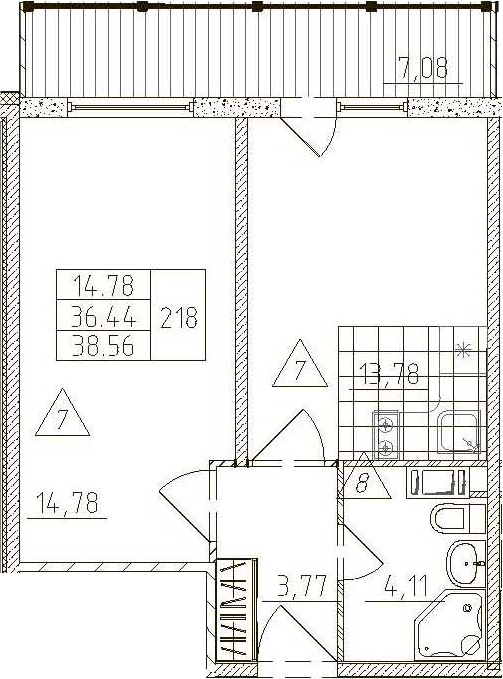 1-к.кв, 38.56 м²