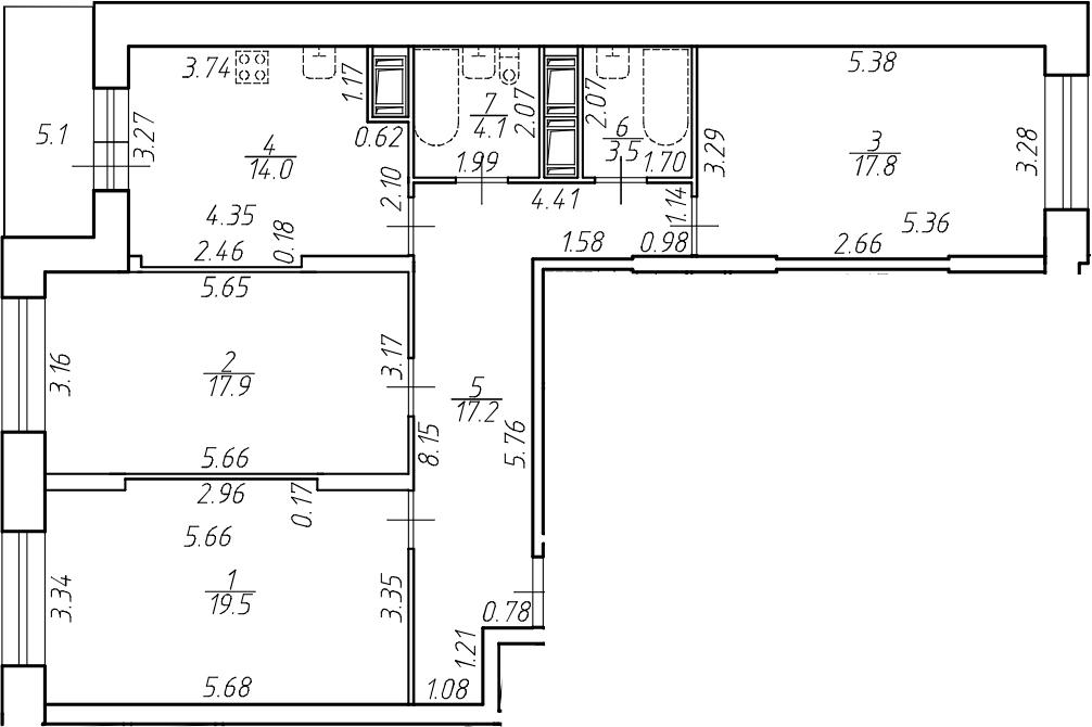 3-к.кв, 94 м²