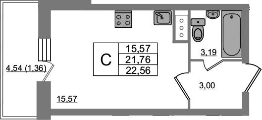 Студия, 23.12 м², 15 этаж