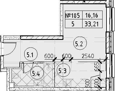 Студия, 33.21 м²– 2