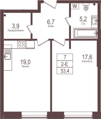 2Е-комнатная, 53.4 м²– 2