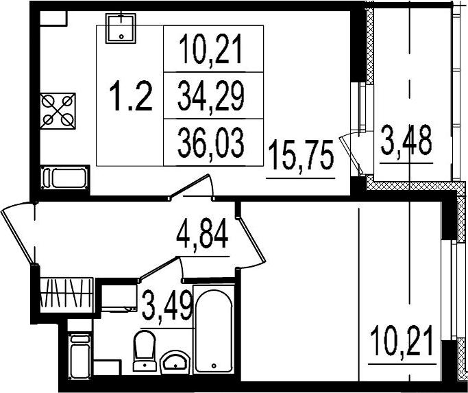 2Е-комнатная, 34.29 м²– 2