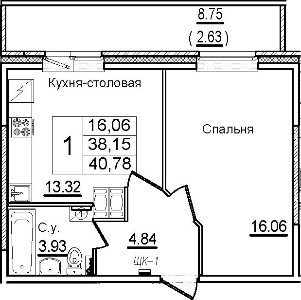 1-комнатная, 40.78 м²– 2