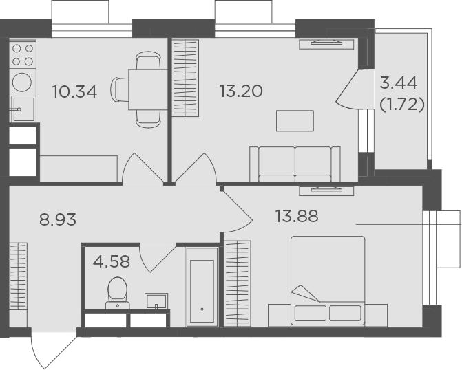 2-к.кв, 52.65 м², от 15 этажа