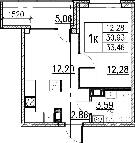 1-комнатная, 33.46 м²– 2