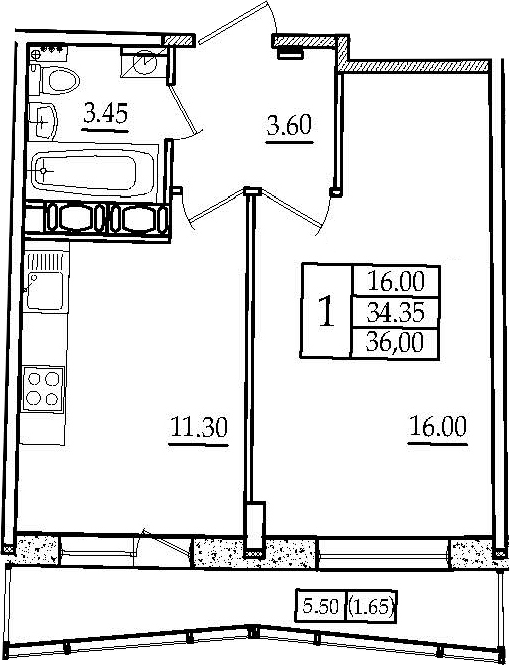 1-к.кв, 36 м², 3 этаж