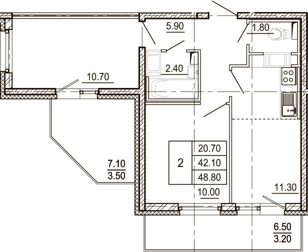 2-к.кв, 48.8 м²