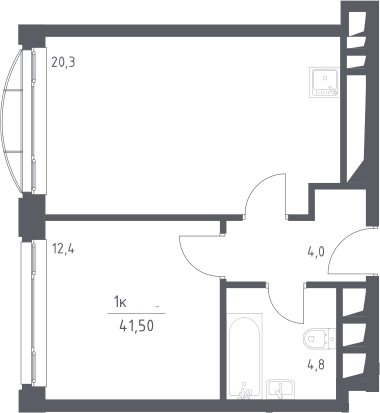 2Е-к.кв, 41.5 м², 24 этаж