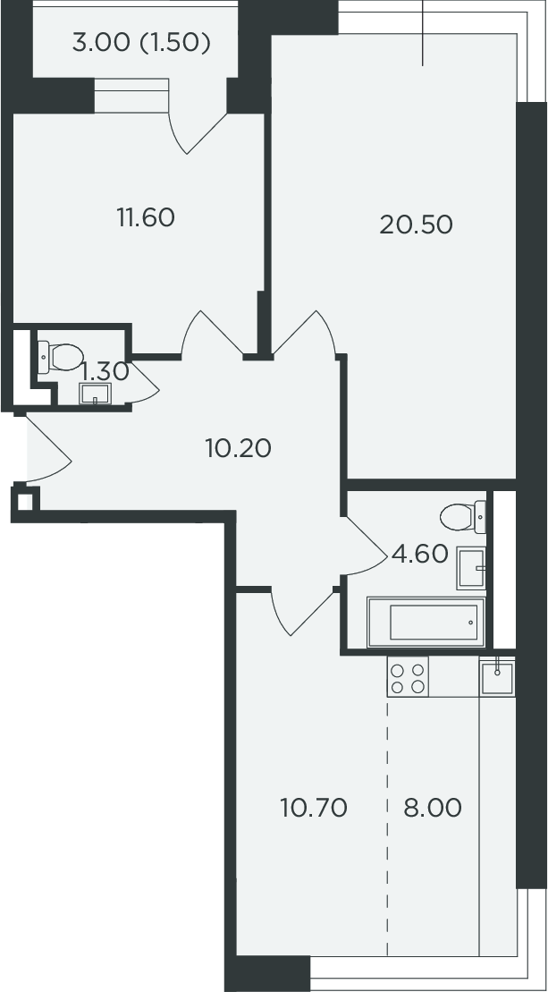 3Е-к.кв, 68.4 м²