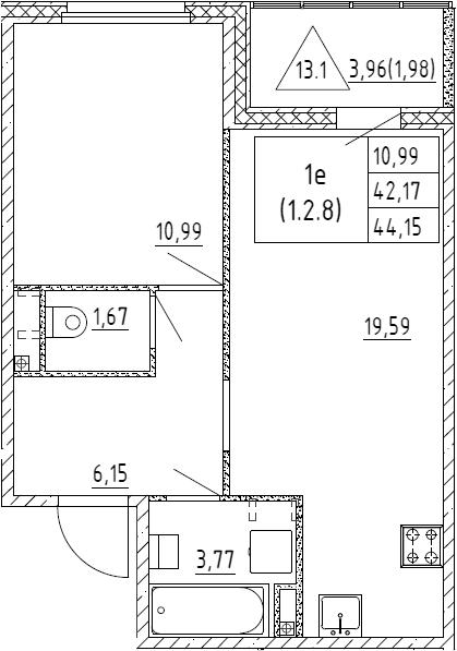 2Е-к.кв, 44.15 м², 2 этаж