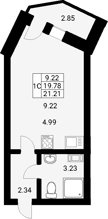 Студия, 22.64 м²