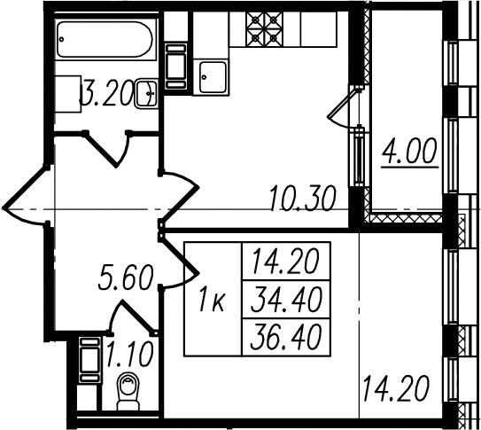 1-к.кв, 34.4 м², 10 этаж