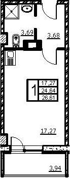 Студия, 26.61 м², 3 этаж
