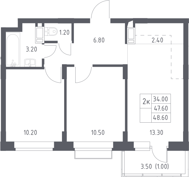 3Е-к.кв, 48.6 м², 10 этаж