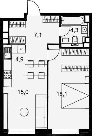 2Е-комнатная, 49.4 м²– 2