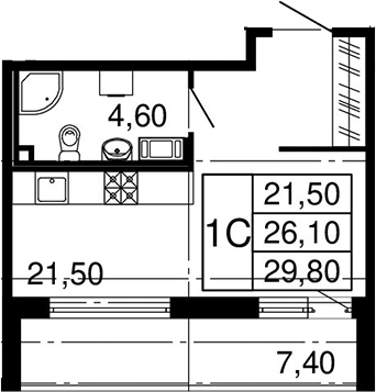 Студия, 33.5 м²