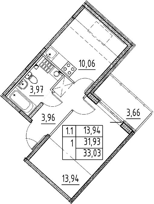1-к.кв, 31.93 м², 5 этаж