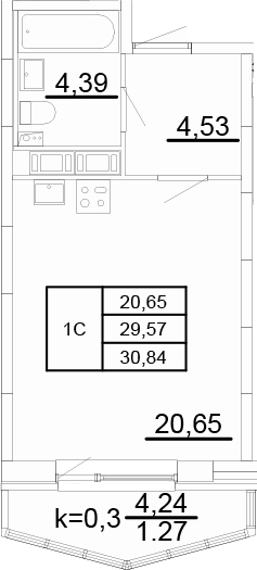 Студия, 30.58 м²
