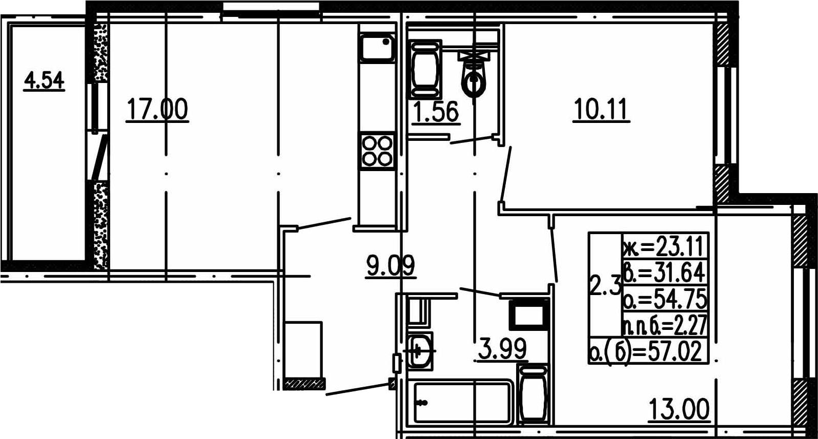 3Е-комнатная, 54.75 м²– 2