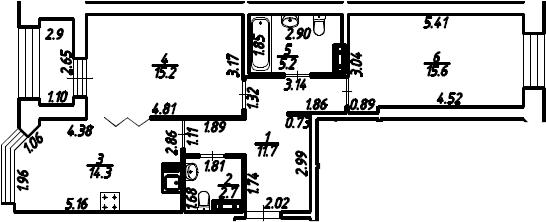 2-к.кв, 66.2 м²