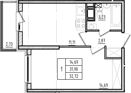 1-комнатная, 31.9 м²– 2