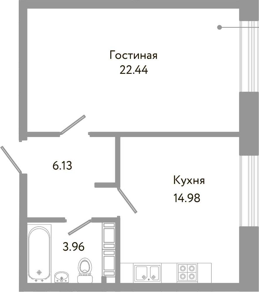 1-к.кв, 47.51 м²