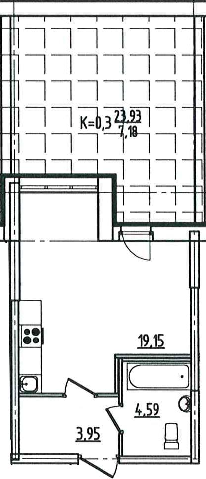 Студия, 51.62 м²