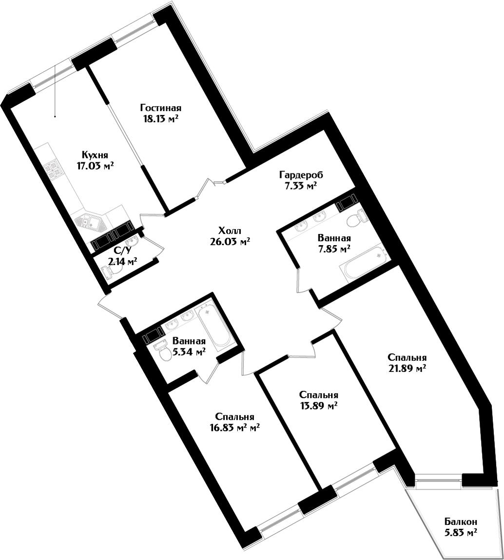 5Е-комнатная, 138.21 м²– 2