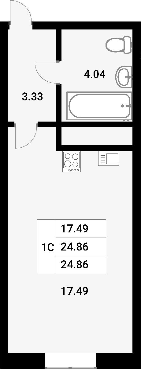 Студия, 24.86 м²– 2