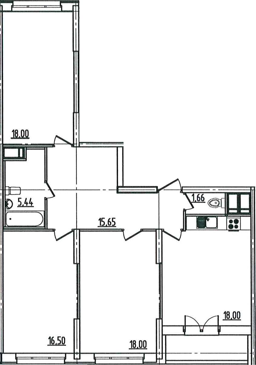4-к.кв (евро), 97.21 м²