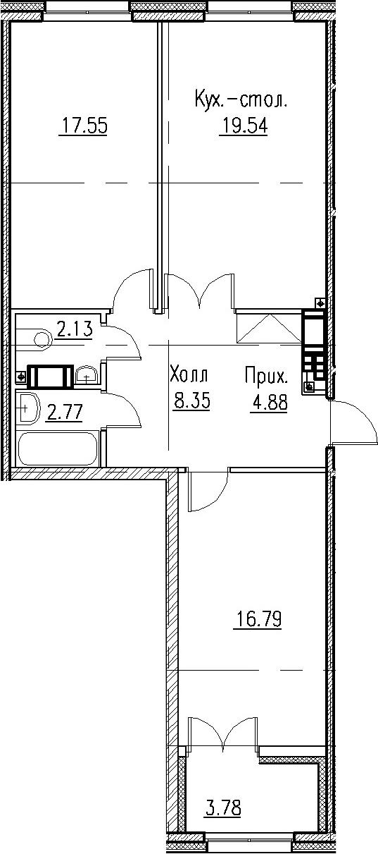 3Е-к.кв, 72.01 м²