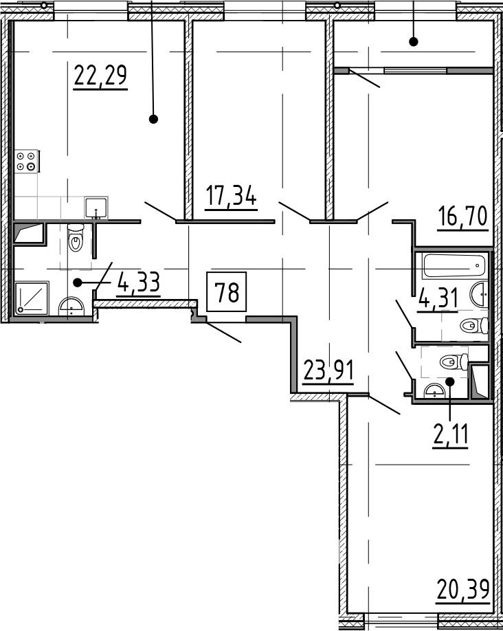 4Е-комнатная, 115.12 м²– 2