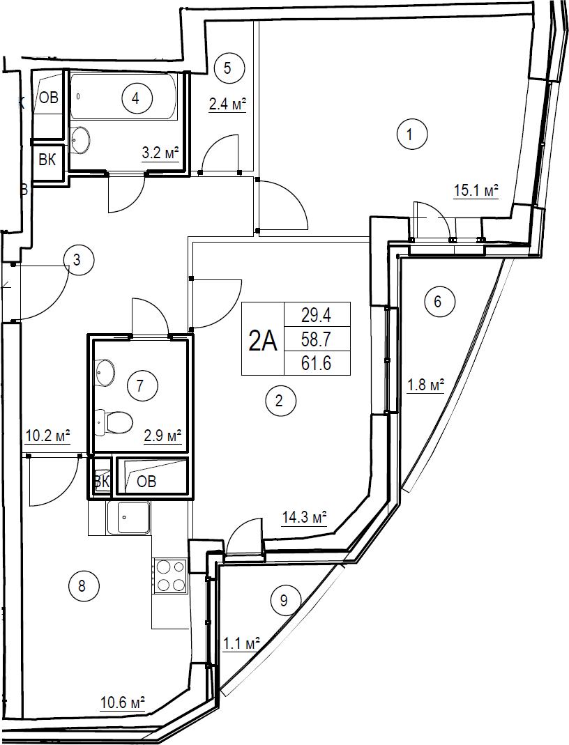 2-к.кв, 61.6 м²