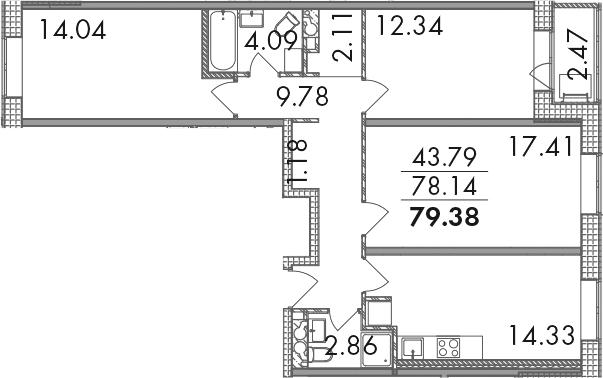 3-к.кв, 80.61 м²