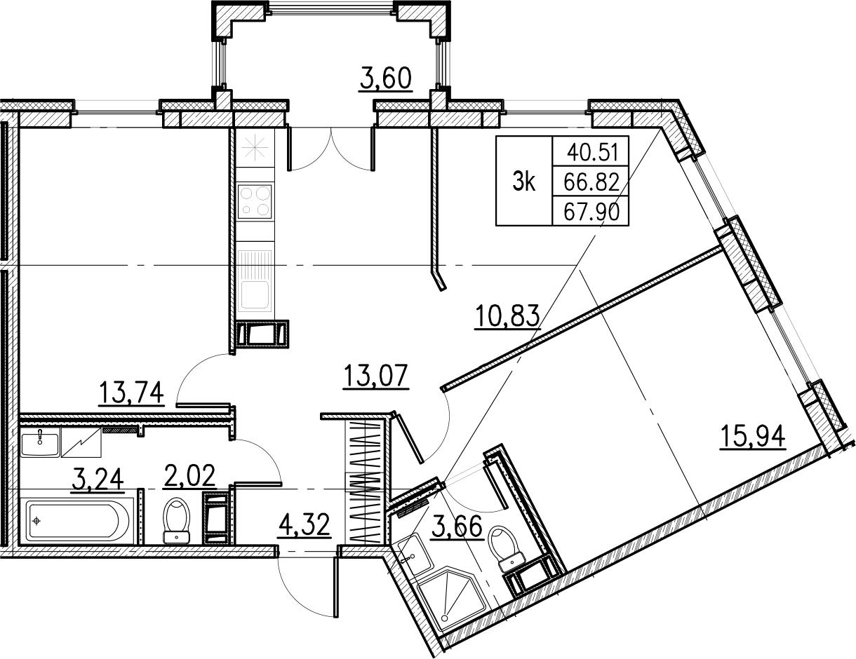 3-комнатная, 67.9 м²– 2