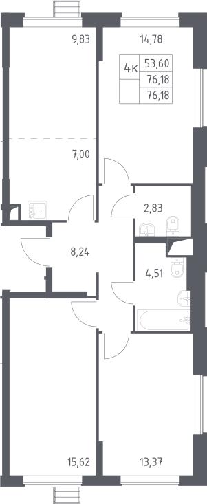 4-к.кв (евро), 76.18 м²
