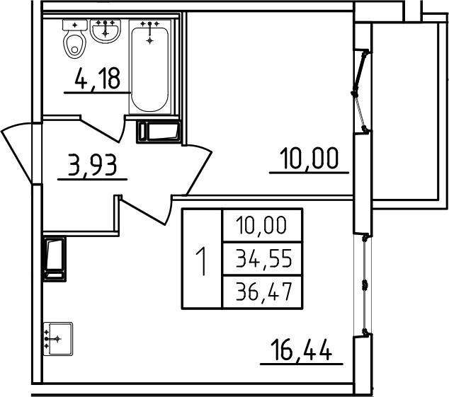 1-к.кв, 36.47 м², от 3 этажа