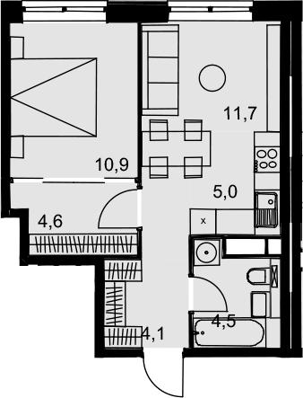 2Е-к.кв, 40.8 м², от 15 этажа
