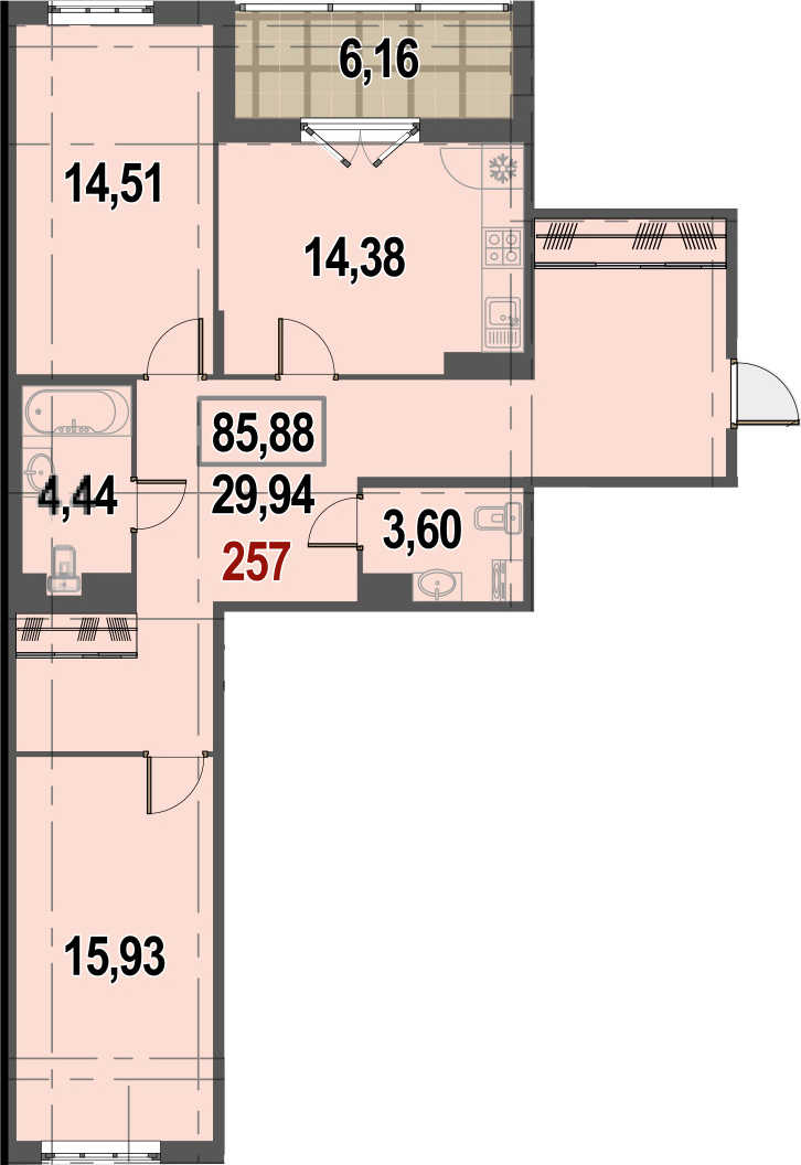 2-комнатная, 85.88 м²– 2