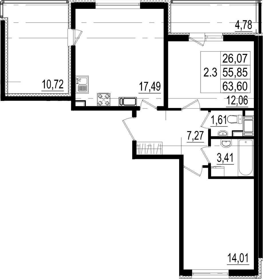 3Е-к.кв, 55.85 м²
