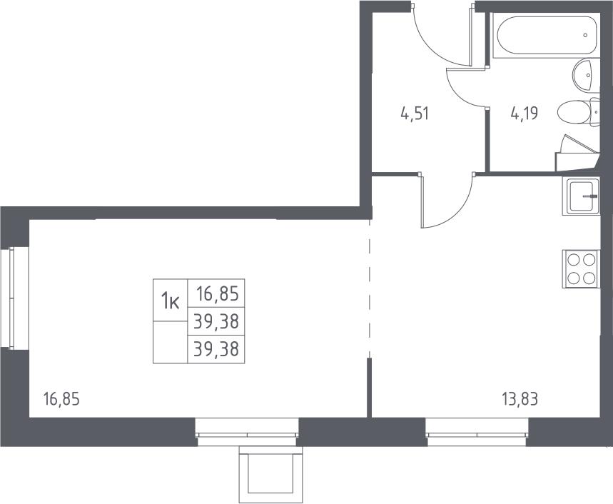 1-к.кв, 39.38 м²
