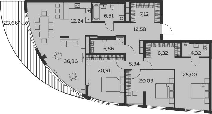 4Е-комнатная, 169.75 м²– 2