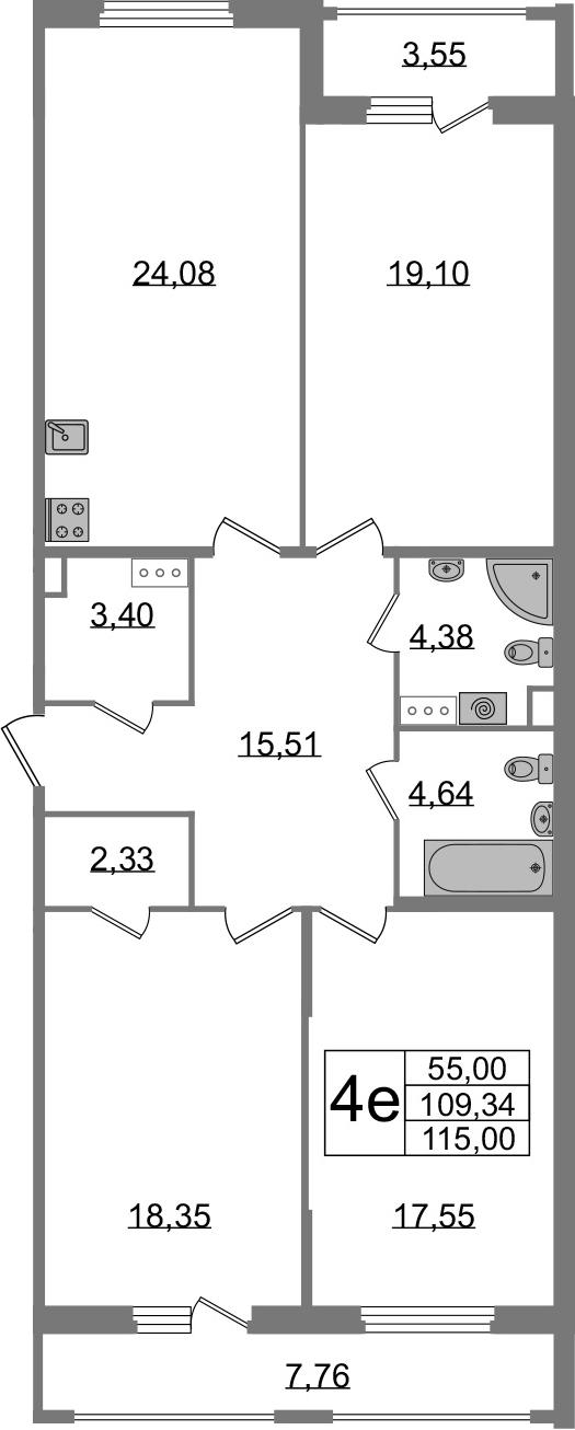 4Е-комнатная, 109.34 м²– 2